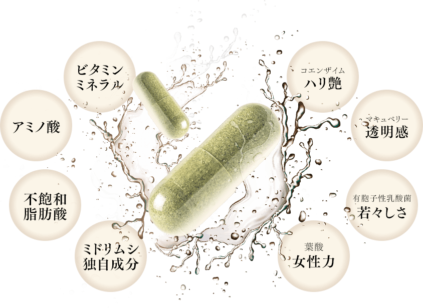 ミドリムシの栄養素と、厳選した美容成分がひとつに。